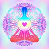 Kierowy Chakra pojęcie Wewnętrzna miłość, światło i pokój, Sylwetka wewnątrz ilustracja wektor