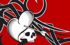 Kierowy czaszek strzała tatuażu tło ilustracji