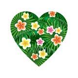 Kierowy dżungla logo drukować koszulki Palma opuszcza i egzot kwitnie dalej w formie serca ilustracja wektor