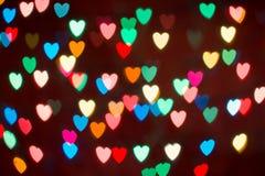 Kierowy kolorowy bokeh tło Walentynki ` s dnia tło Obraz Stock