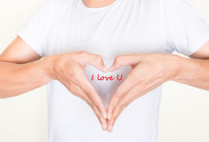 Kierowy kształt wręcza Mnie i formułuje kocha U Fotografia Stock