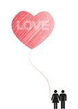 Kierowy miłości baloon Obrazy Stock