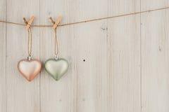 Kierowy obwieszenie na clothesline Na starym drewna background Obrazy Stock