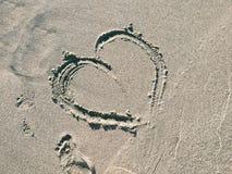 Kierowy odcisk Na oceanu piasku Fotografia Stock