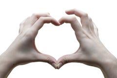 Kierowy ręka znak Miłość Biały tło obrazy royalty free
