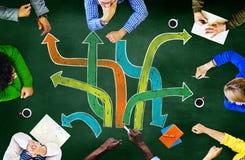 Kierunek ścieżki celów dążenia spotkania uczenie Planuje Concep fotografia stock