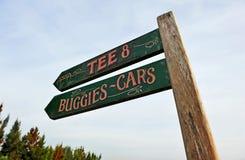 Kierunków znaki na polu golfowym, Andalusia, Hiszpania Zdjęcia Stock