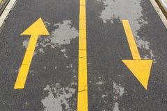 Kierunkowej strzała znaki rowerowy pas ruchu Obrazy Royalty Free