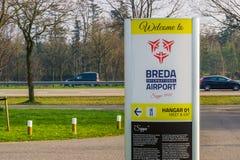 Kierunkowskaz lotnictwa seppe Breda, lotnisko, Bosschenhoofd holandie, Marzec 30, 2019 zdjęcia stock