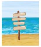 Kierunkowskaz w morzu i seashore Zdjęcie Royalty Free