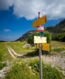 Kierunkowskaz z różnymi kierunkami stoi na początku turysta Obraz Stock