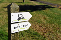Kierunków znaki na polu golfowym, Andalusia, Hiszpania Fotografia Stock