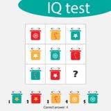 Kies correct antwoord, IQtest met de dozen van de Kerstmisgift voor kinderen, het onderwijsspel van de Kerstmispret voor jonge ge stock illustratie