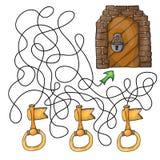 Kies de sleutel aan deur - labyrintspel voor jonge geitjes stock afbeeldingen