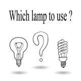 Kies tussen een een gloeilamp en energy-saving lamp Vector Stock Afbeelding