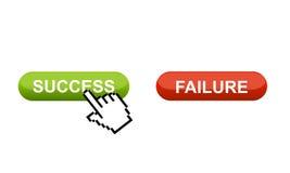Kies tussen succes of mislukking Stock Afbeelding