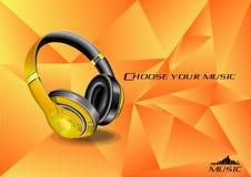 Kies uw muziek Gouden die oortelefoon op de gradiëntachtergrond wordt gebroken vector illustratie