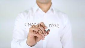 Kies Uw Toekomst, Mens die op Met de hand geschreven Glas schrijven, stock foto