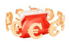 Kiesa z euro symbolami wokoło, 3D rendering Zdjęcia Royalty Free