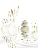 Kiesel, Gräser und Bambus Stockfotografie