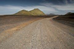 Kiesstraßen auf Island Stockfotografie