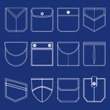 Kieszeni ikony Cienki Kreskowy Biały set wektor Fotografia Royalty Free
