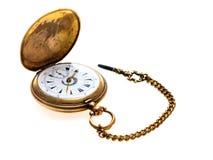 Kieszeniowego zegarka antyk Złoty Fotografia Stock