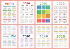 Kieszeniowy kalendarz 2020 rok set Wektorowa szablon kolekcja Kolorowy angielszczyzna kalendarz Na Niedziela tydzie? pocz?tek ilustracji