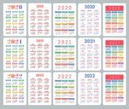 Kieszeniowy kalendarz 2020, 2021, 2022 roku Du?a Angielska kolekcja Kolorowy wektoru set Na Niedziela tydzie? pocz?tek Pionowo pr ilustracji