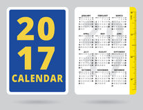 Kieszeniowy kalendarz 2017 z calową władcą Zdjęcie Royalty Free