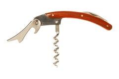 Kieszeniowy nóż z corkscrew odizolowywającym na bielu z ścinek ścieżką Obrazy Royalty Free