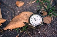 Kieszeniowy zegarek na podłodze z liściem fotografia stock
