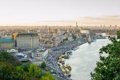 kiev Взгляд реки Dnieper и области Podol Стоковая Фотография RF
