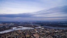 kiev Река Dnipro от неба трутнем Украина Стоковые Изображения RF