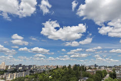 Kiev aerial cityscape with white clouds and blue sky, Ukraine Stock Photography
