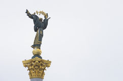 Kiev , the angel statue , in Maydan square Royalty Free Stock Photos
