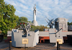 Kiev, armored boat and samples of weapons of military ships in WWII Museum Stock Photos