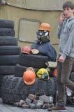 Kiev bajo empleo de campesinos católicos de Ucrania occidental Fotos de archivo libres de regalías