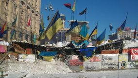 Kiev. Barriere Snow.2014 Immagine Stock