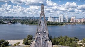 Kiev bridge Fursy in sunny weathering from the air royalty free stock photo