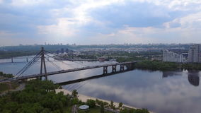 Kiev Bridge shooting with a drone stock footage