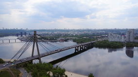Kiev Bridge shooting with a drone stock video footage