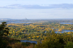 Kiev bridges and islands at autumn Royalty Free Stock Images