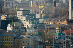 Kiev business and industry city landscape on river Stock Photos