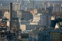 Kiev business and industry city landscape on river Royalty Free Stock Photos