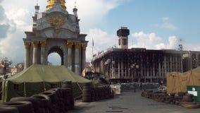 Kiev, center. Barricades on Khreschatyk 2014 in Kiev Royalty Free Stock Photography
