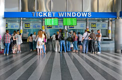 Ticket windows, Kiev Central Railway Station, passengers Stock Photos