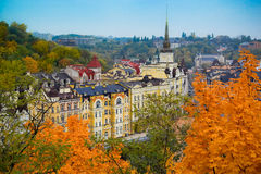 Kiev city in Autumn - Vozdvizhenka district Royalty Free Stock Images