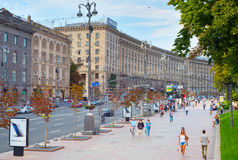 Kiev city center street. Ukraine Royalty Free Stock Photo