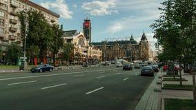 Kiev city central street timelapse. Intensity traffic. Khreshchatyk time lapse stock video footage